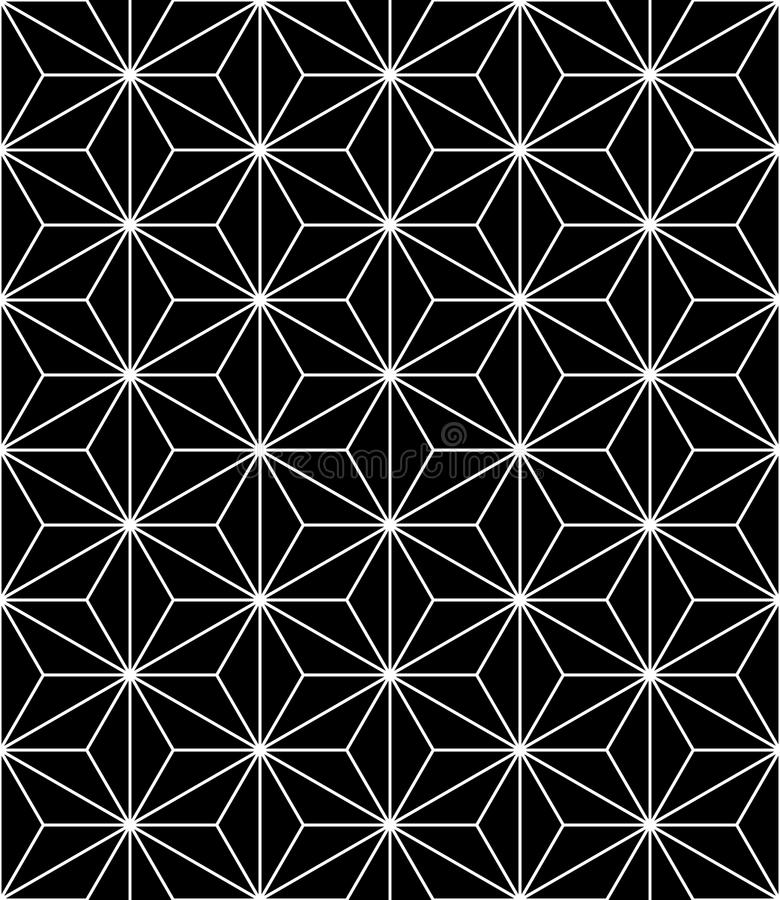 Modern sömlös sakral geometrimodell för vektor, svartvitt abstrakt begrepp royaltyfri illustrationer