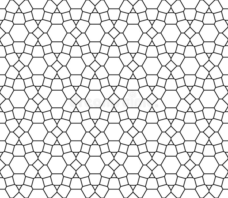Modern sömlös sakral geometrimodell för vektor, svartvitt abstrakt begrepp stock illustrationer