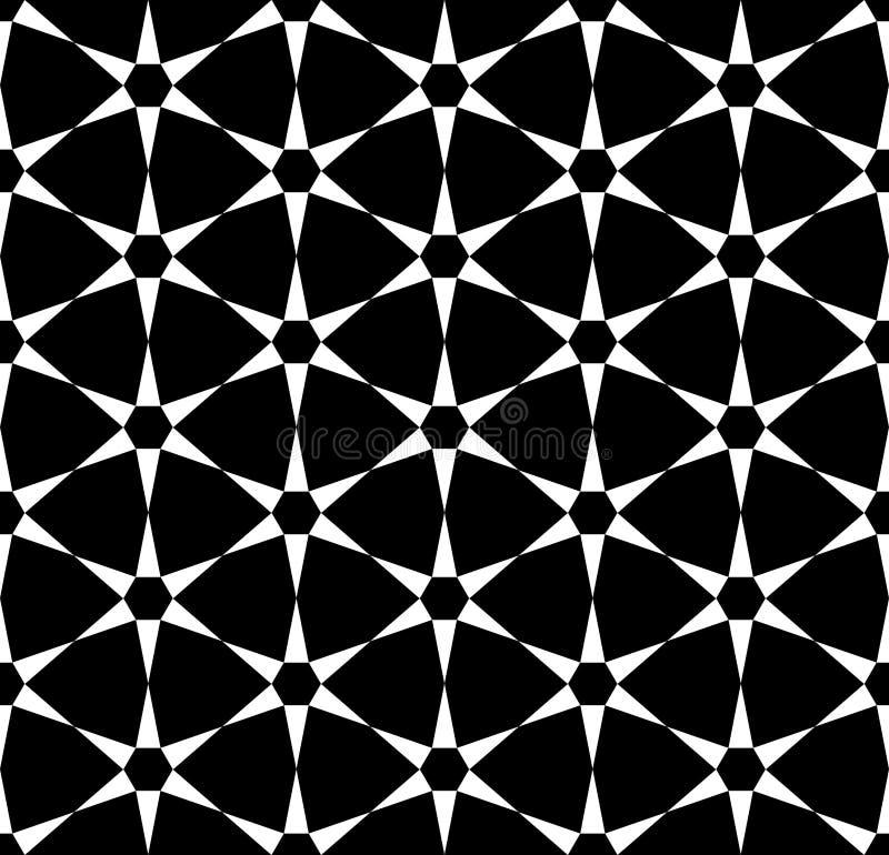 Modern sömlös sakral geometrimodell för vektor, svartvitt abstrakt begrepp vektor illustrationer