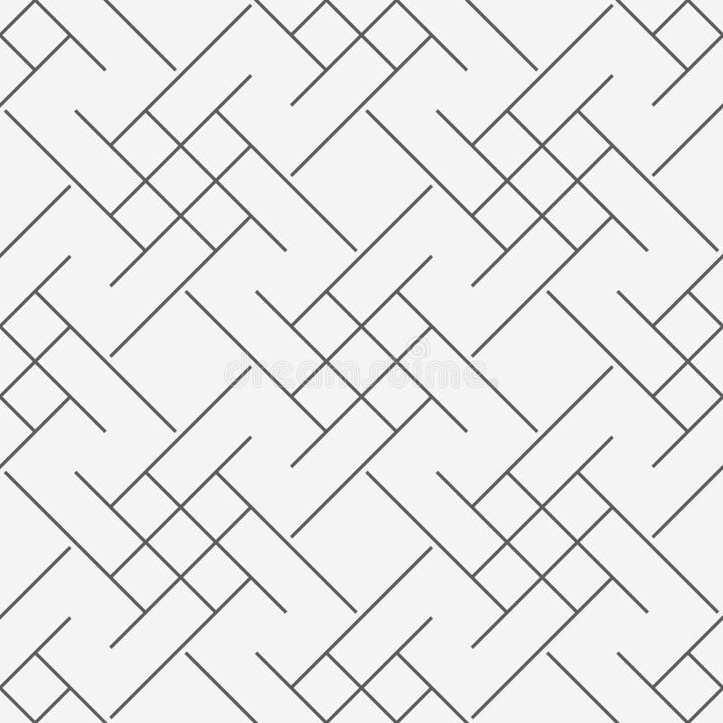 Modern sömlös trippy geometrimodell för vektor, svartvit abstrakt geometrisk linje bakgrund, linje monokrom retro textur, royaltyfri illustrationer