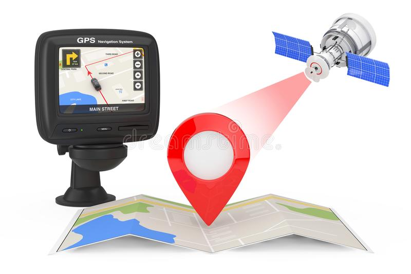 Modern Satelite Broadcasting to Navigation Map with Map Pointer. Near Navigation GPS Device with City Map on the Screen on a white background. 3d Rendering stock illustration