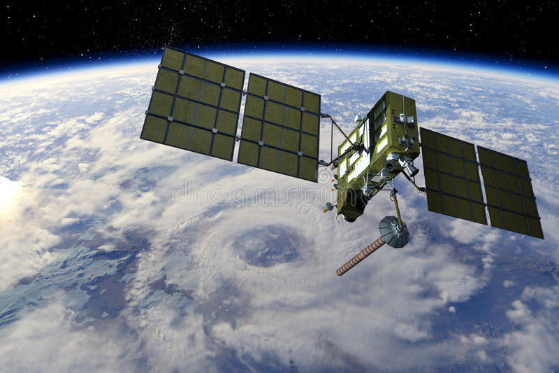 modern satellit för gps royaltyfri illustrationer