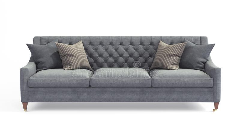 Modern scandinavian classic gray sofa with legs with pillows on isolated white background. Furniture, interior object royalty free stock images