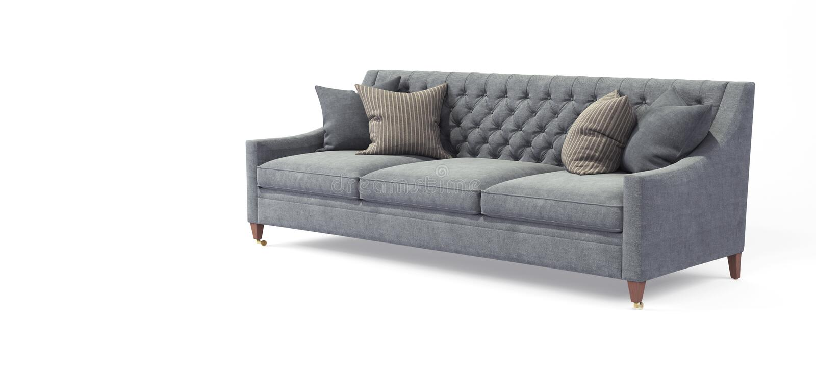 Modern scandinavian classic gray sofa with legs with pillows on isolated white background. Furniture, interior object royalty free stock photography