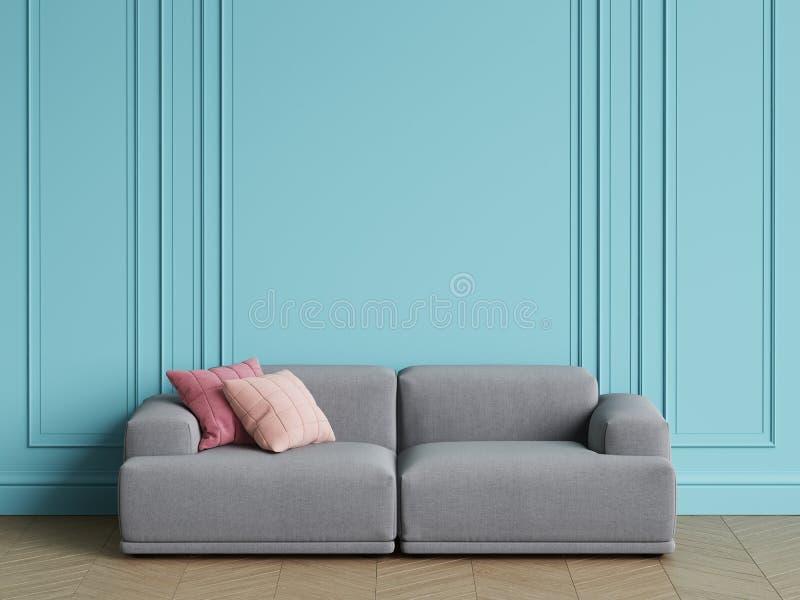 Modern Scandinavian Design grey sofa in interior. Blue walls with moldings,floor parquet herringbone vector illustration