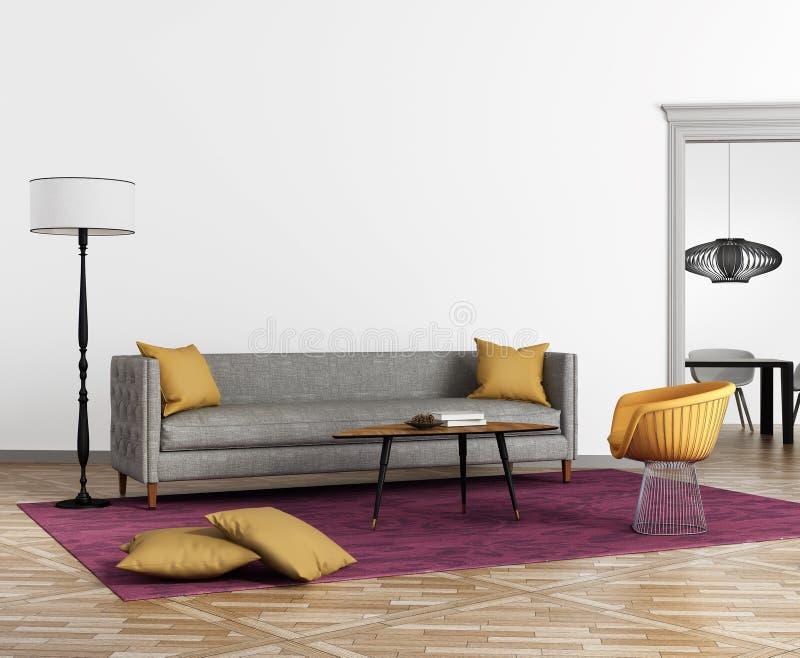 Modern scandinavian stilinre med en grå soffa vektor illustrationer
