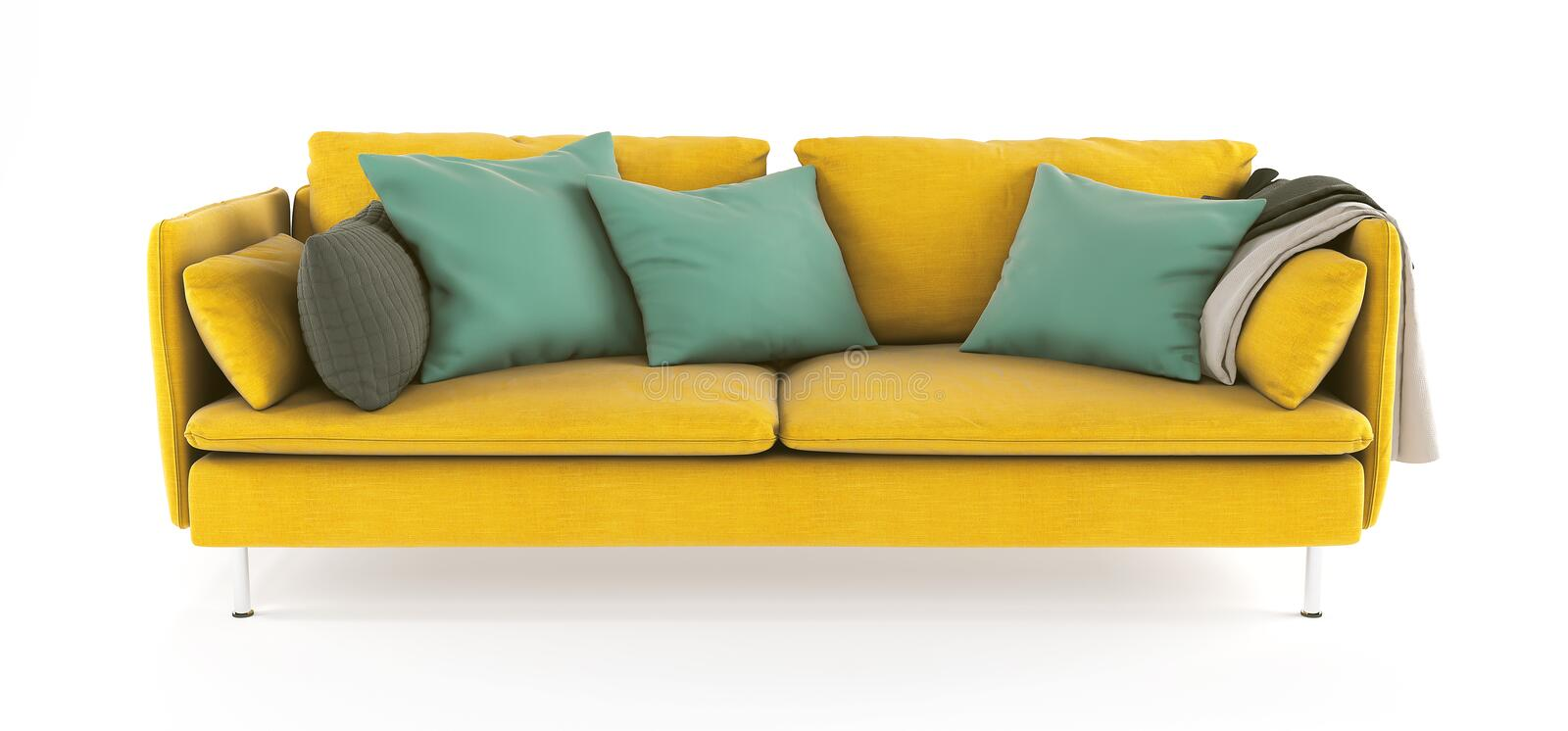 Modern scandinavian yellow sofa with legs with emerald green pillows and plaid on isolated white background. Furniture, interior royalty free stock photo