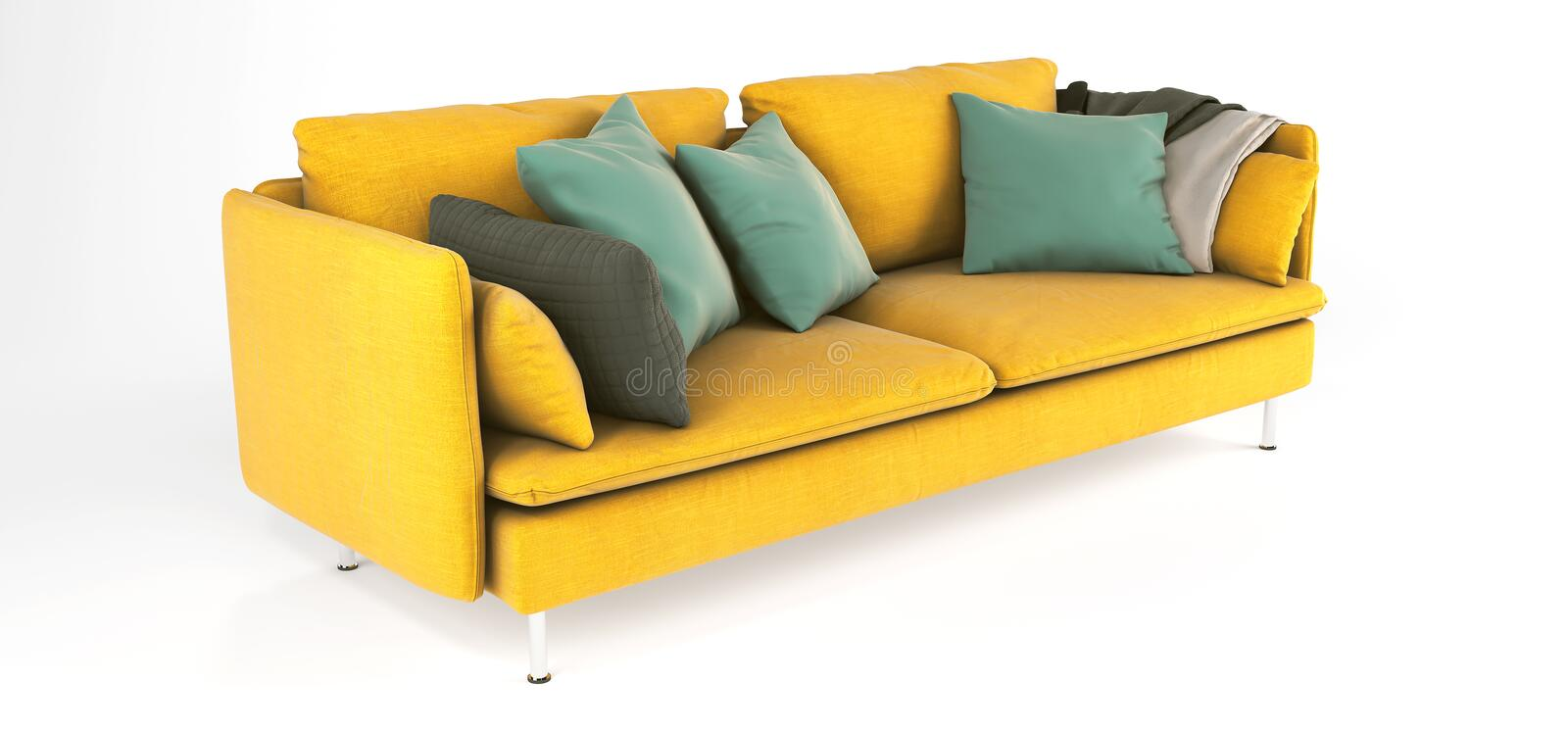 Modern scandinavian yellow sofa with legs with emerald green pillows and plaid on isolated white background. Furniture, interior royalty free stock images