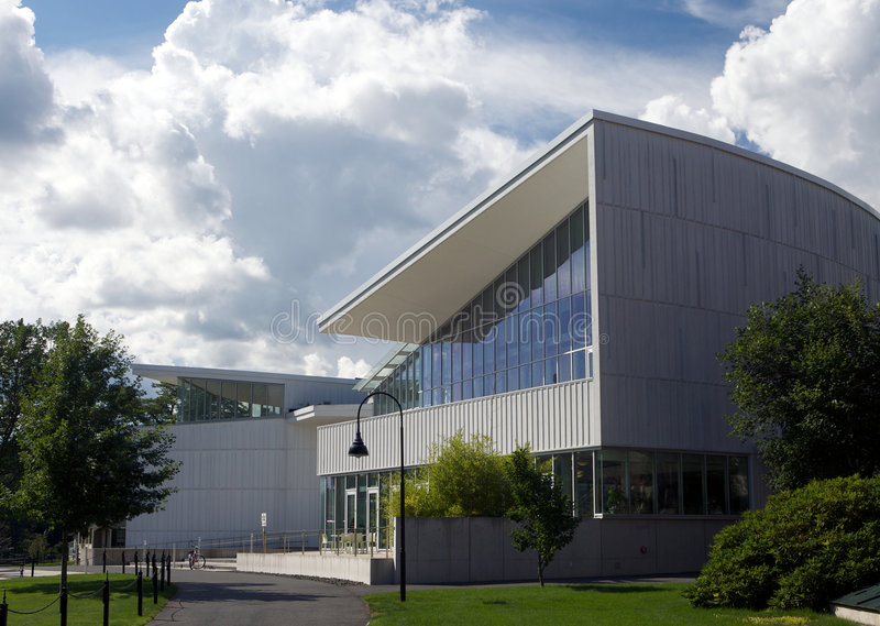Modern school building. Exterior view of prestigious modern school building, New England, U.S.A stock image