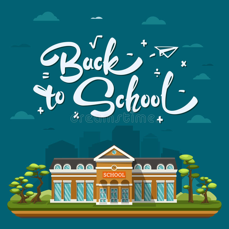 Modern School building. On landscape. Concept with lettering or calligraphy Back to school. Vector flat illustration on dark blue background royalty free illustration