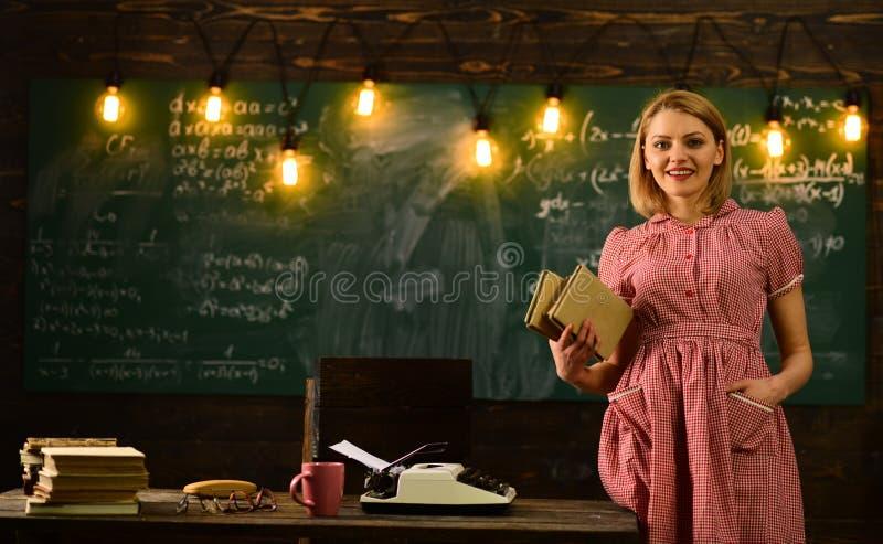 Modern school concept. modern school with woman in retro dress. modern education in school. stock photography
