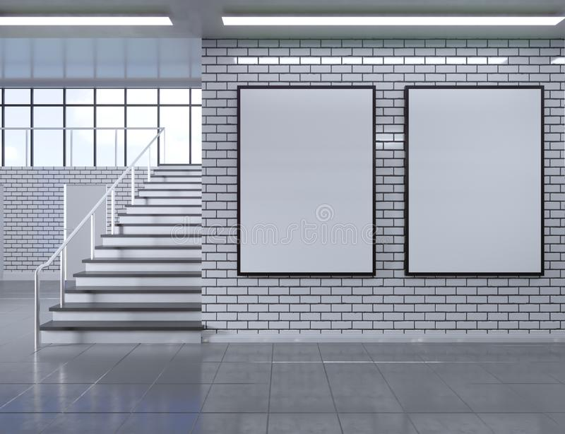 Modern school corridor interior with empty poster on wall. Mock up, 3D Rendering illustration stock illustration