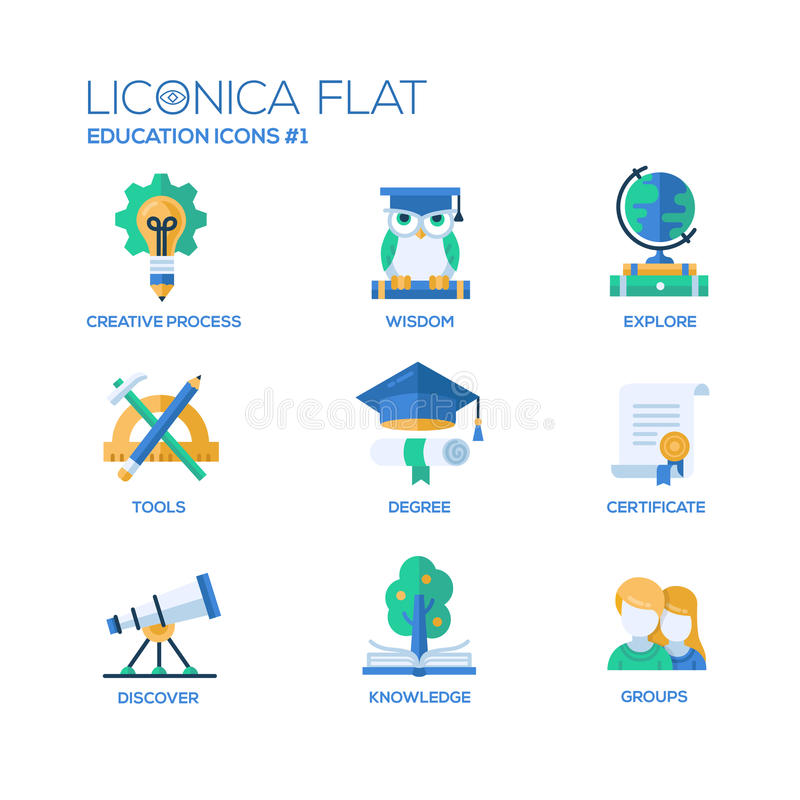 Modern school and education thin line design icons, pictograms vector illustration