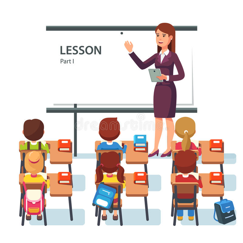 Modern school lesson. Little students and teacher stock illustration