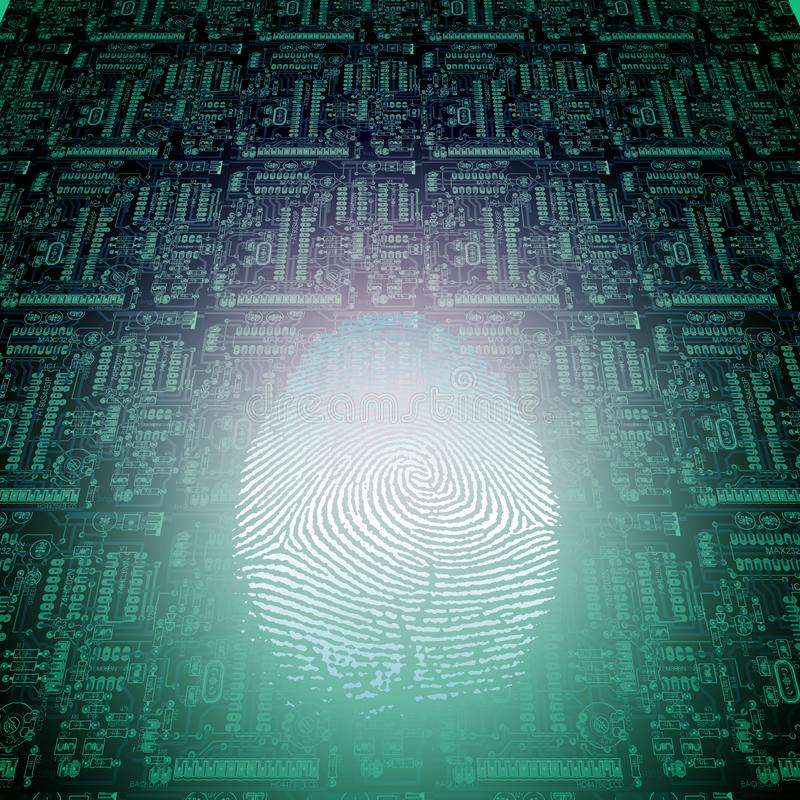 Machine Fingerprint. Modern Sci fi art. Machine Fingerprint royalty free illustration