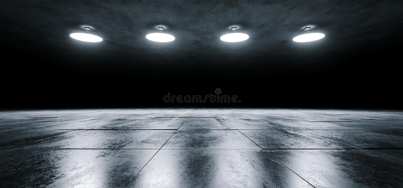 Modern Sci Fi Empty Stage Dome Ceiling Lights White Glowing On Dark Grunge Reflective Tiled Concrete Texture Floor Showroom Stage. 3D Rendering Illustration royalty free illustration
