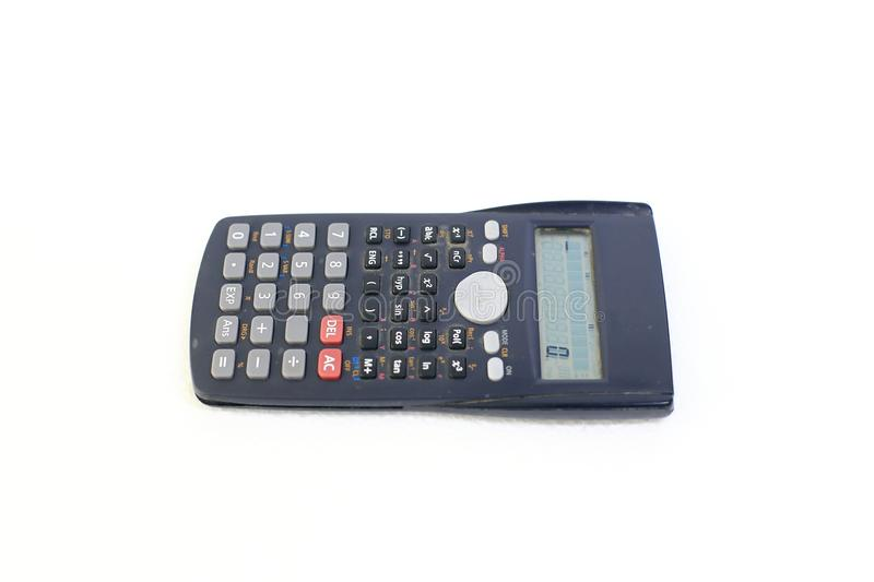 Modern scientific calculator on white background royalty free stock photography