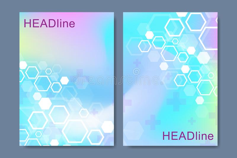 Modern scientific templates for a report and medical brochure design, cover, banner, flyer, leaflets decoration for royalty free illustration