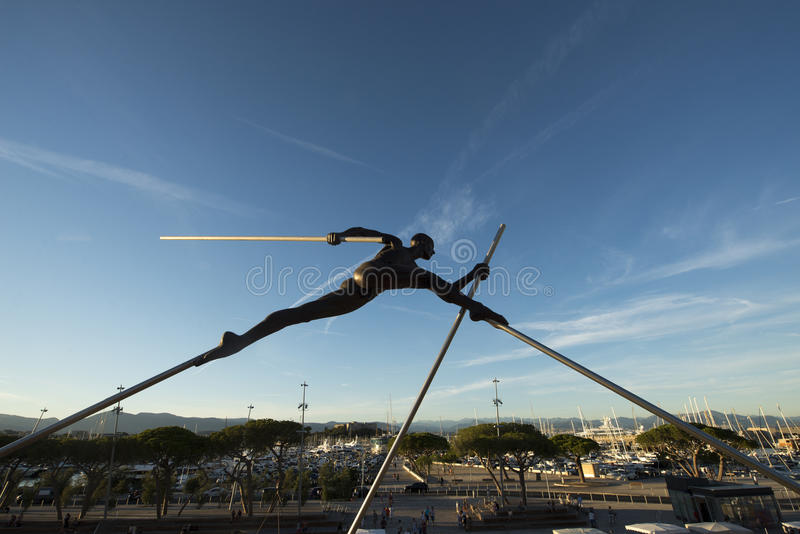 Modern sculpture in Antibes, France stock photo
