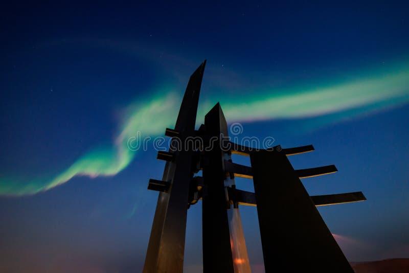 Modern Sculpture and Aurora Borealis captured in Fairbanks, Alaska, USA royalty free stock photo