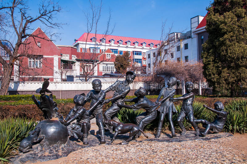The modern sculpture about fairy tales royalty free stock photo