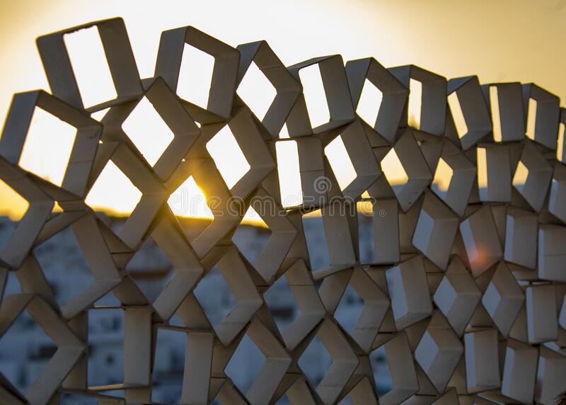 Modern sculpture over looking Vejer stock photo