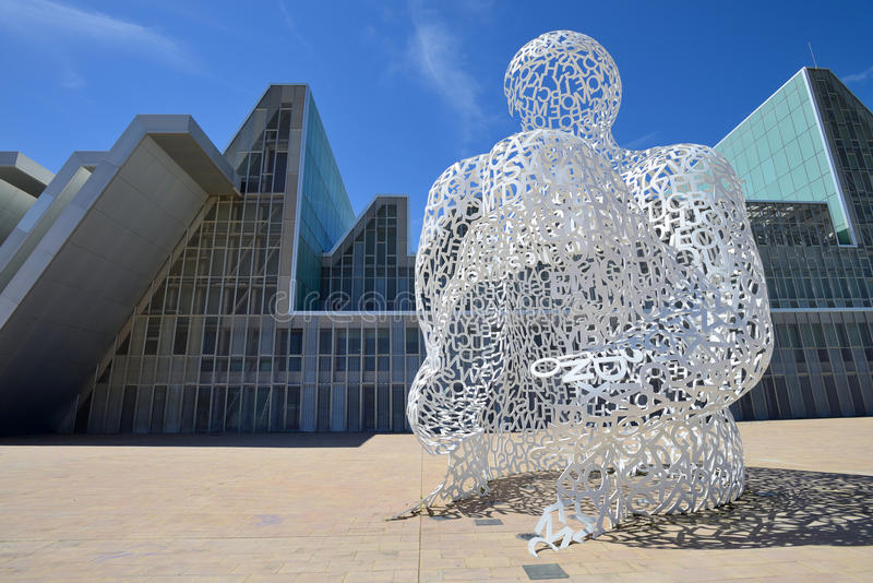 Modern sculpture in Zaragoza stock photos