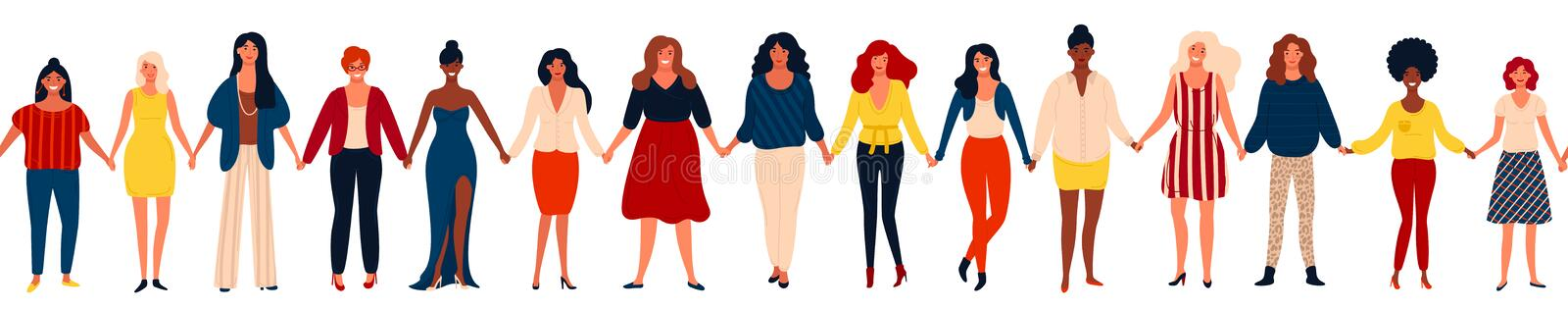 Modern seamless border with international group of happy women or girls standing together and holding hands. vector illustration