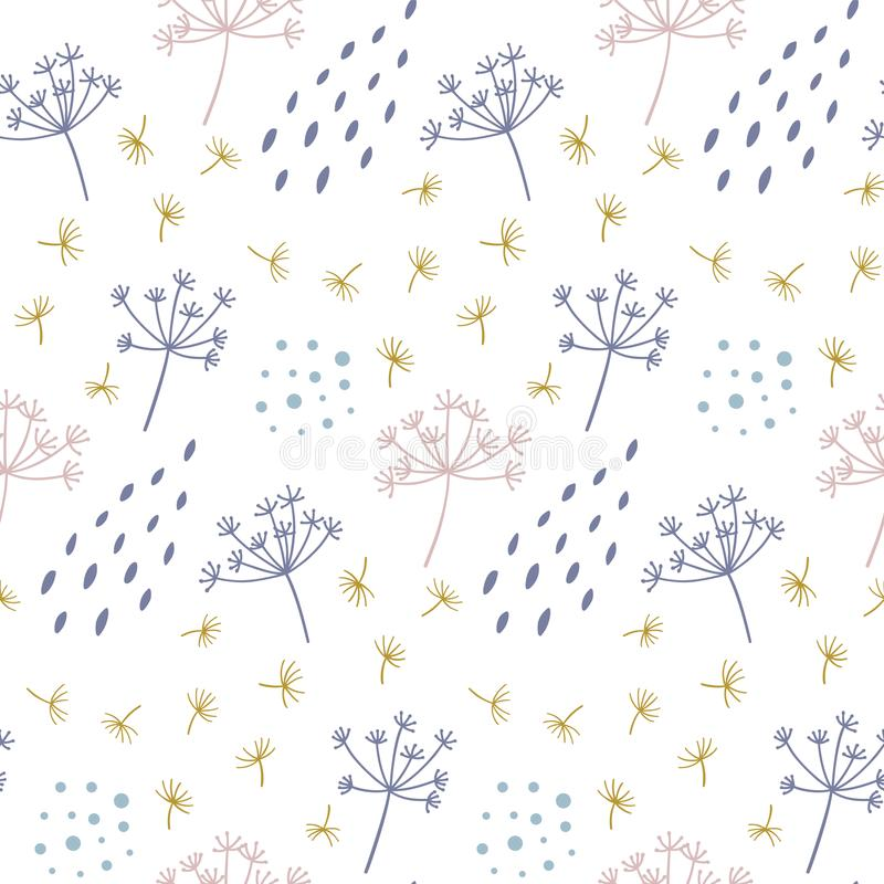 Modern seamless floral pattern with abstract dots and shapes. vector illustration