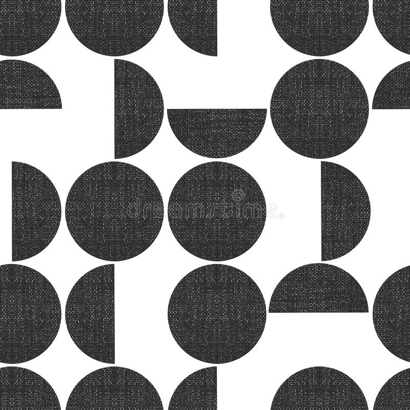 Modern seamless geometric vector pattern semicircles circles grunge texture. Abstract background monochrome screen print royalty free illustration