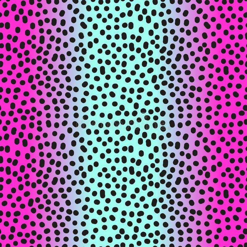 Modern seamless gradient pink to blue leopard pattern in 80s 90s style vector illustration