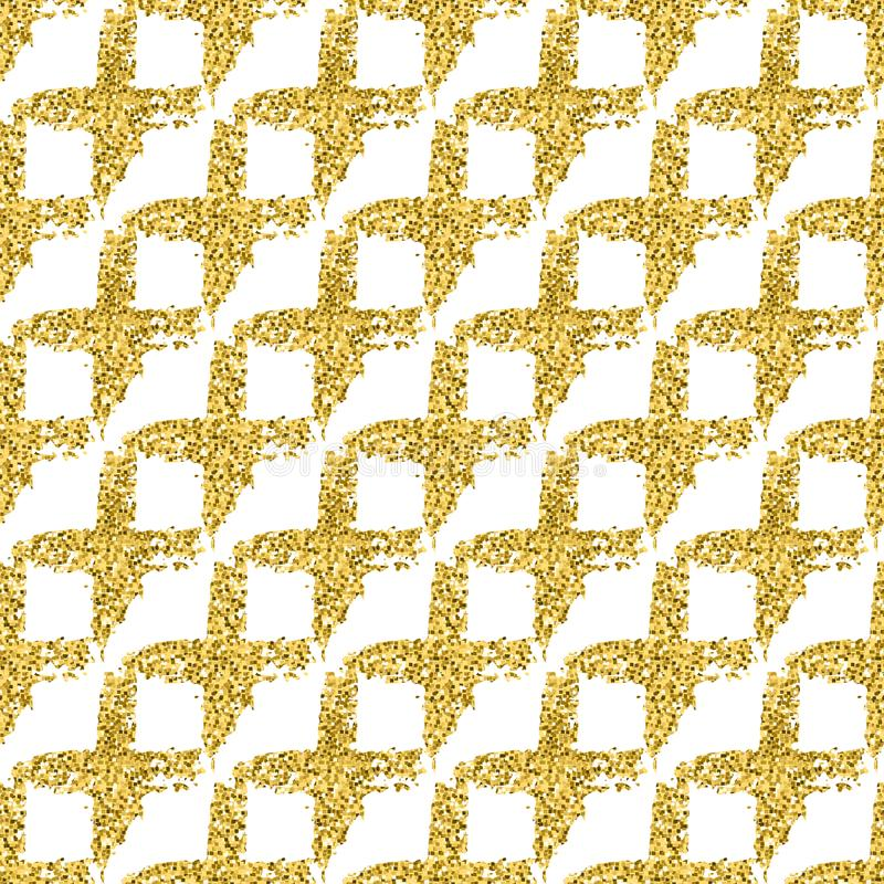 Modern seamless pattern with brush shiny cross plaid. Gold metallic color on white background. Golden glitter texture royalty free stock photography