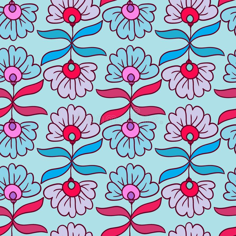 Modern seamless pattern. Flowers print. Vector floral texture. Ornamental texture. Textile nature ornament. Wrapping paper royalty free illustration