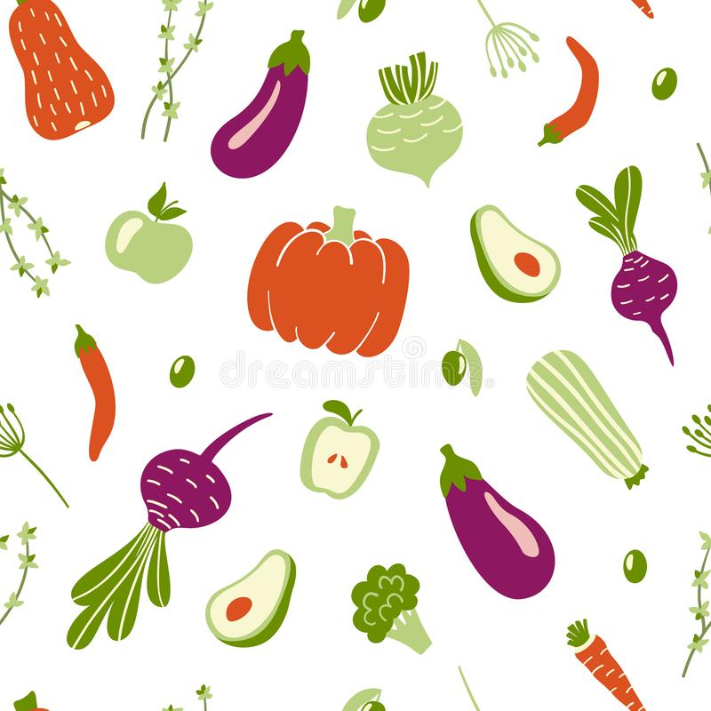 Modern seamless pattern with hand drawn colorful doodle vegetables. Vector illustration vector illustration