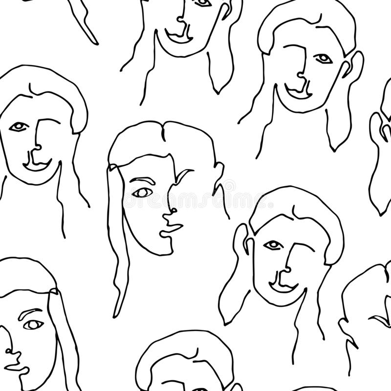 Modern seamless pattern with linear abstract woman face. Continuous line art. One line drawing. royalty free illustration