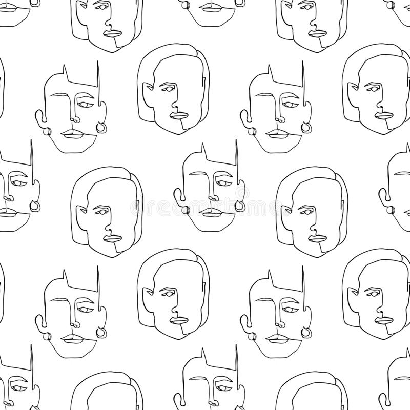 Modern seamless pattern with linear abstract woman face. Continuous line art. royalty free illustration