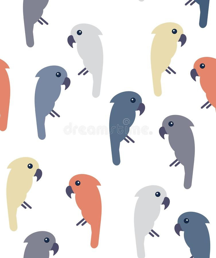 Modern seamless pattern with pastel colored cockatoo birds on white background stock illustration