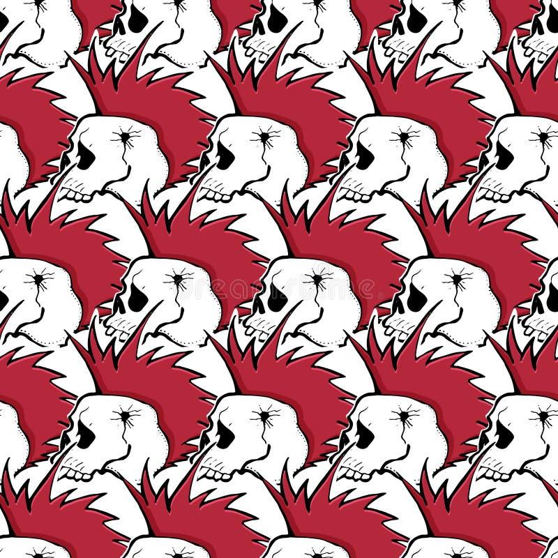 Modern seamless pattern with skulls, rock-music symbols, stars, punk rock attributes. Modern seamless pattern with skulls, rock-music symbols, stars, lips, punk royalty free illustration