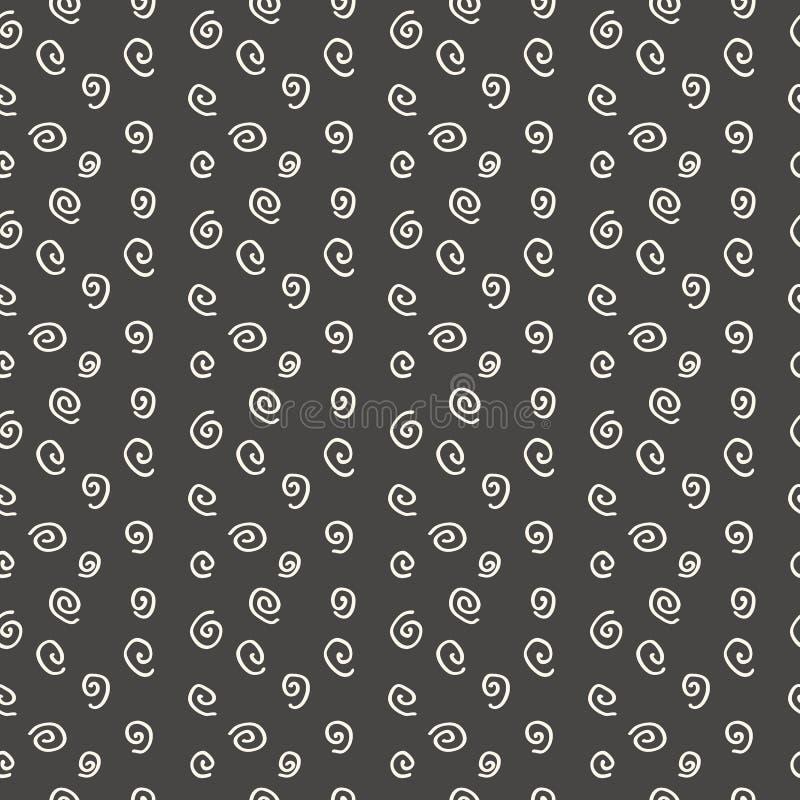 Modern seamless pattern spirals. By hand on black background stock illustration