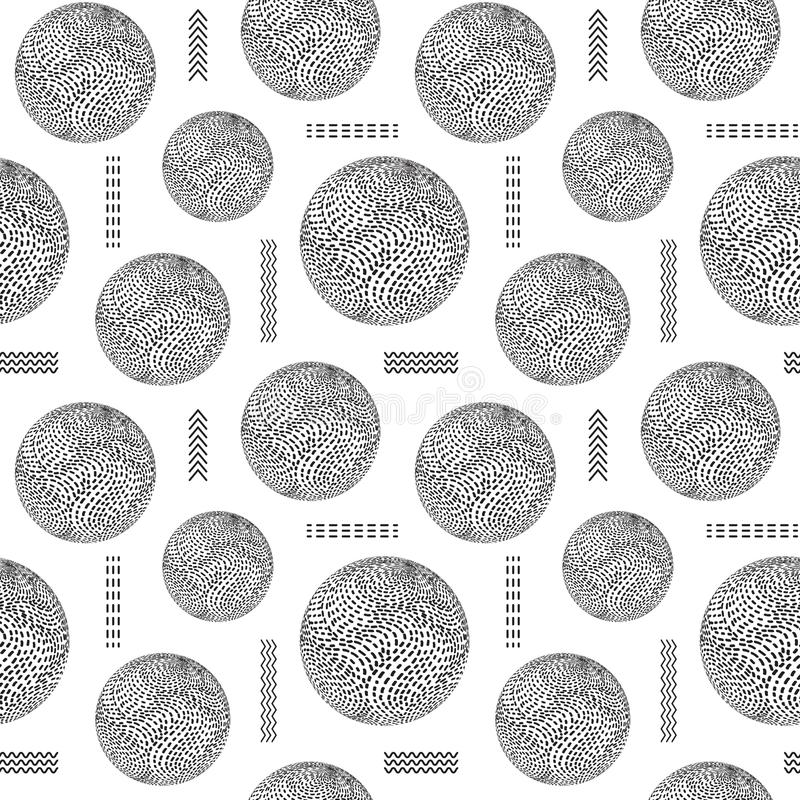 Seamless pattern with striped balls vector illustration