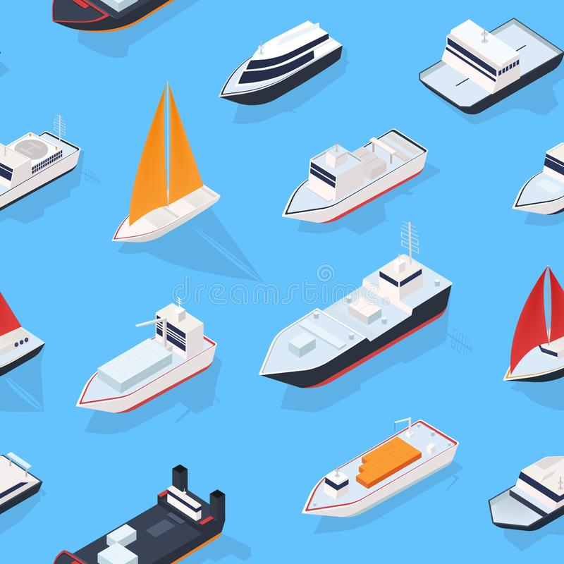 Modern seamless pattern with various isometric ships, sailing boat and marine vessels. Backdrop with sea transport royalty free illustration