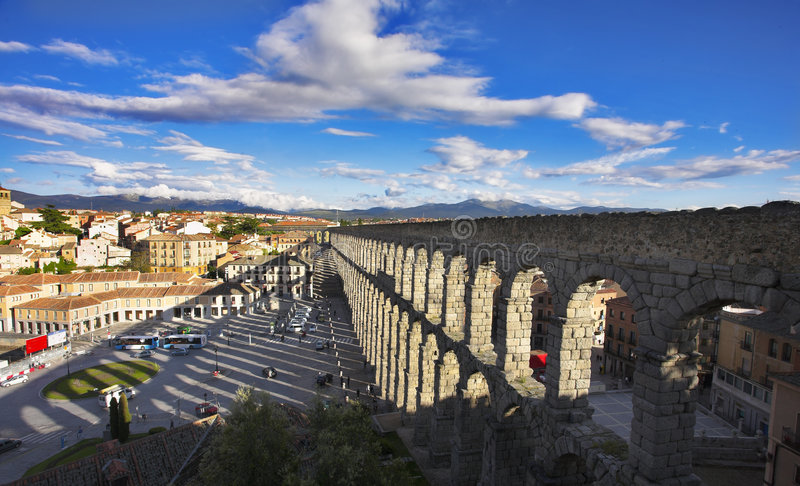 Modern Segovia and  aqueduct
