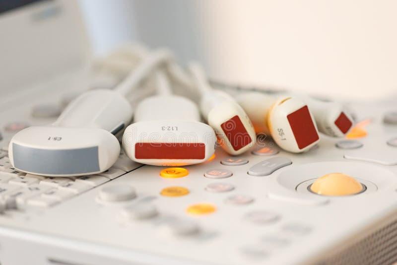 Medical equipment, ultrasonic scanner. Modern sensors for ultrasound examination stock photo