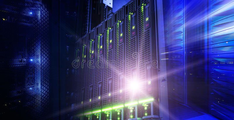 Modern server data center information technologies collage wuth light royalty free stock image