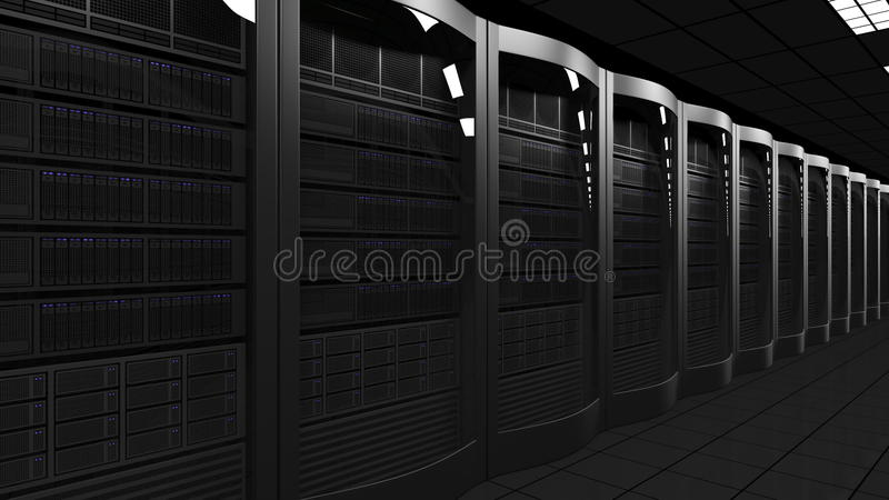 Modern server room 3D rendering. Cloud technologies, ISP, corporate IT, ecommerce business concepts. Modern server room 3D. Cloud technologies, ISP, corporate IT royalty free stock images