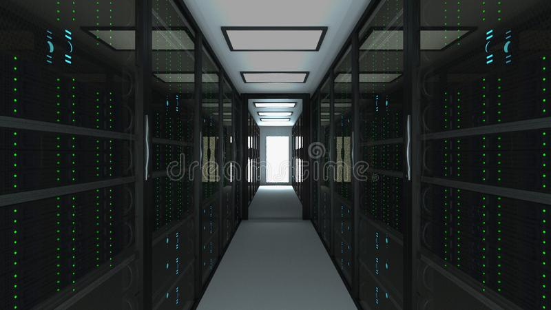 Modern server room interior in datacenter, web network and internet telecommunication technology, big data storage and. Cloud service concept, 3d rendering stock illustration