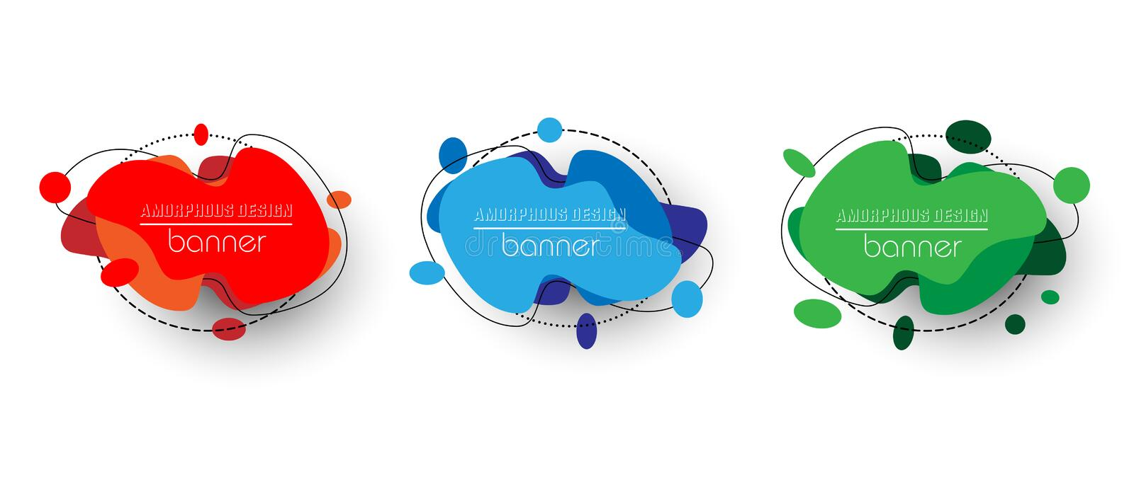 Modern set of abstract banners. Vector bright template banners. Colorful amorphous design template ready for use in web or print stock illustration