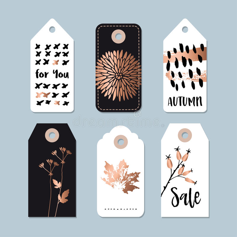 Modern set of autumn, fall sale and quality labels, gift tags. Lettering, hand drawn leaves, floral elements. Isolated s. vector illustration