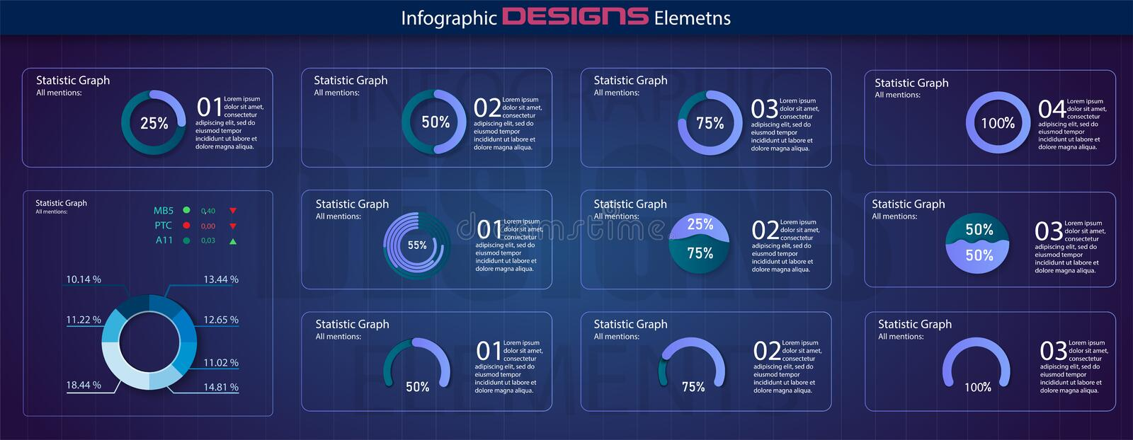 Modern set of circle percentage diagrams. Infographic diagram vector interface. Minimalistic infographic template. With flat design daily statistics graphs stock illustration