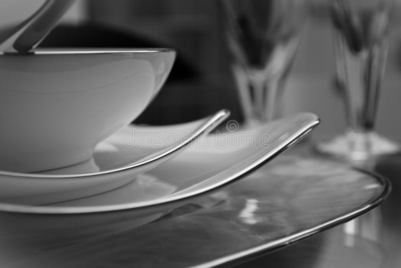 Modern set of dishes stock photos